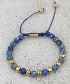 תמונה של צמיד חרוזים ואבני חן כחול