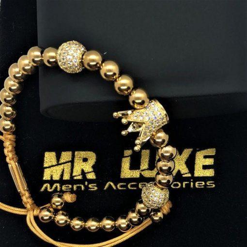 תמונה של צמידים לגברים בצבע זהב עם כתר יוקרתי