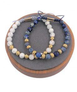 תמונה של זוג צמידים חרוזים כחול ולבן