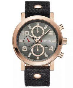 תמונה של שעון יד לגבר עם רצועת גינס בצבע שחור