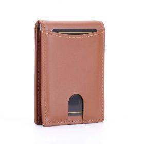 תמונה של ארנק מעור בצבע חום מיוחד עם כרטיסים וכסף