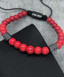 תמונה של צמיד לגבר אבני חן אדום