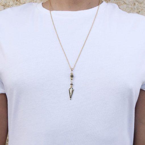 תמונה של דוגמן עם שרשרת חץ לגבר בצבע זהב