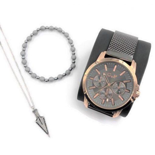 תמונה של מתנות לגבר ליום האהבה שעון צמיד ושרשרת בצבע אפור