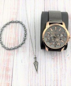 תמונה של מתנות לגבר סט צמיד שעון ושרשרת בצבע אפור