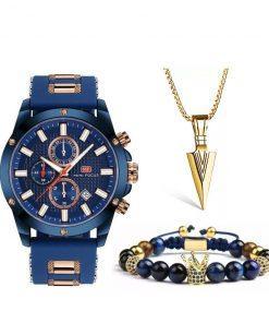 תמונה של סט תכשיטים לגבר שעון צמיד ושרשרת לגבר
