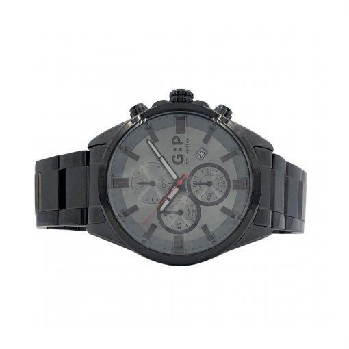 תמונה של שעון יוקרתי לגבר בצבע שחור עם לוח אפור