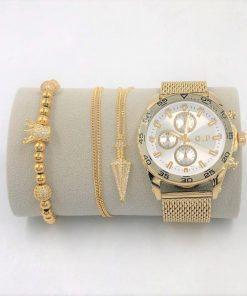 תמונה של מתנות לגבר ליום הולדת בצבע זהב שעון צמיד ושרשרת