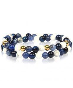 תמונה של צמידים חרוזים אוניקס בצבע כחול ולבן