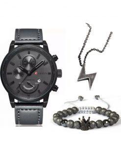 תמונה של שעונים וצמידים לגבר ושרשרת בצבע שחור יוקרתי