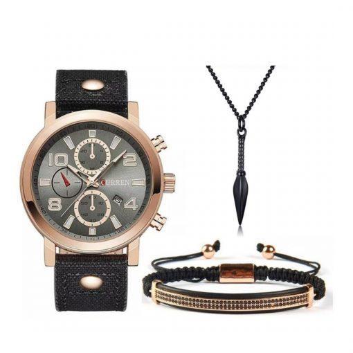 תמונה של סט תכשיטים צמיד לגבר שרשרת לגבר ו- curren שעונים