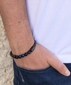 תמונה של צמידים לגבר בצבע שחור מעור עם חרוזים בצבע שחור