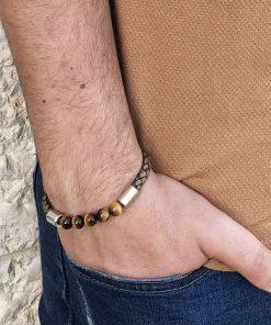 תמונה של צמידים לגברים מעור בצבע חום יוקרתי ומיוחד