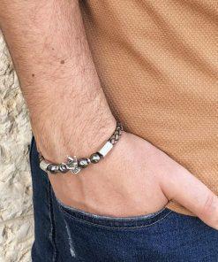 תמונה של צמיד לגברים מעור בצבע חום