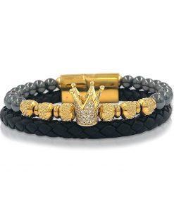 תמונה של צמידי עור לגבר בצבע שחור עם זהב וכתר יוקרתי
