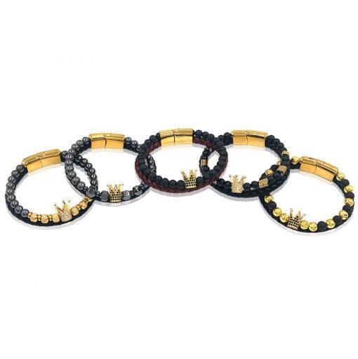 תמונה של צמידים לגבר בצבע זהב ושחור עשוי עור אמיתי