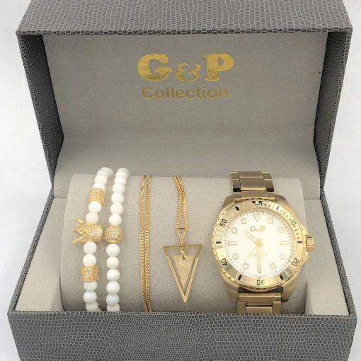 תמונה של מתנות לגבר שעון gp צמיד ושרשרת יוקרתי בצבע זהב ולבן
