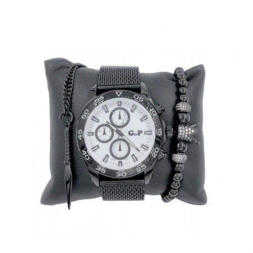תמונה של סט תכשיטים שעון צמיד שרשרת לגבר בצבע שחור
