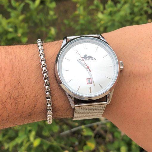 תמונה של סט שעון וצמיד לגבר בצבע כסף