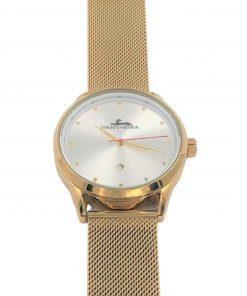 תמונה של שעון פנטרה בצבע זהב עם לוח לבן