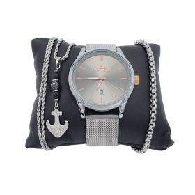 תמונה של סט שעון לגבר מבית פנטרה צמיד ושרשרת בצבע כסף מיוחד