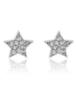 תמונה של זוג עגילי גולדפילד לבן בצורת כוכב