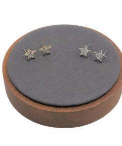 תמונה של זוג עגילי כוכב מגולדפילד זהב ולבן