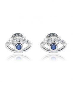 תמונה של עגיל עין מכסף בשילוב אבן חן כחולה