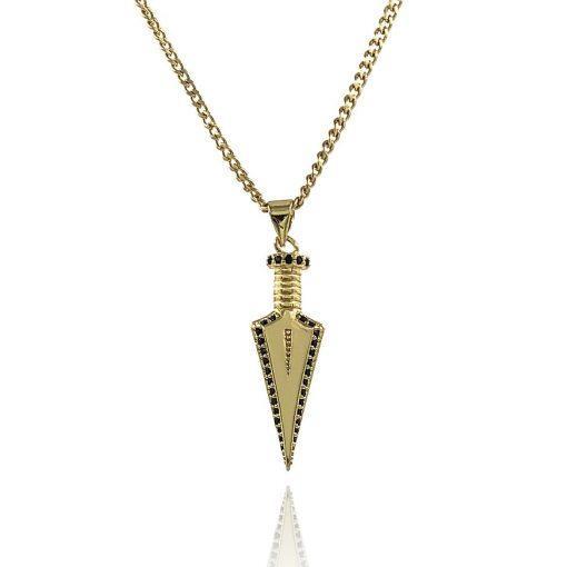 תמונה של שרשרת חץ ספיישל בצבע זהב עם שיבוץ שחור