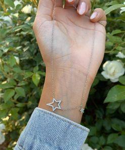תמונה של שרשרת לאישה מכסף אמיתי עם תליוני כוכב